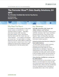 Forrester Research releases Data Quality Tools Wave evaluation