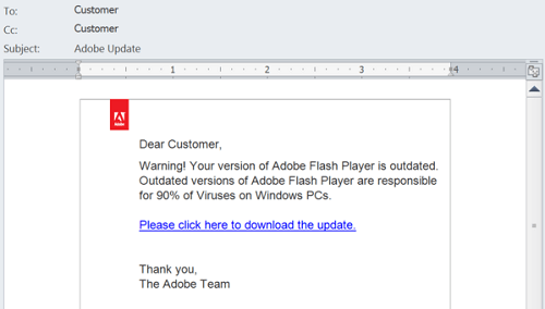 Example of malware-based phishing